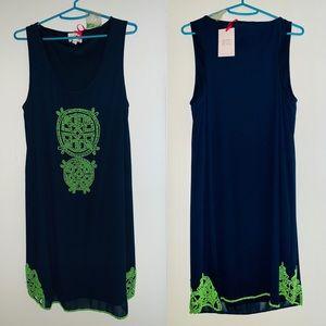 Navy/Green Beaded Summer Dress